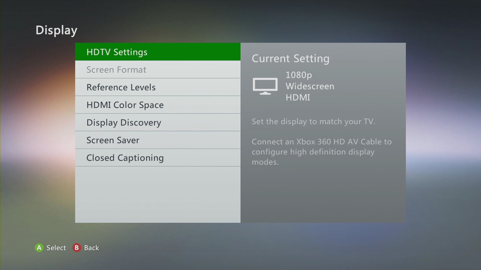 HDTV Settings
