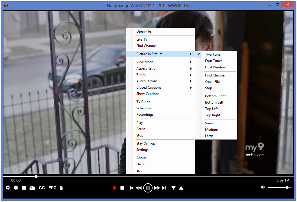 WinTV v10 main menu (context menu)