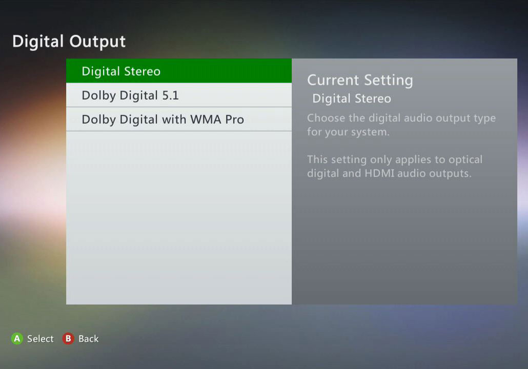 choose Dolby Digital 5.1